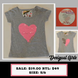 Desigual Kids Grey tshirt with Pink silver reversible heart